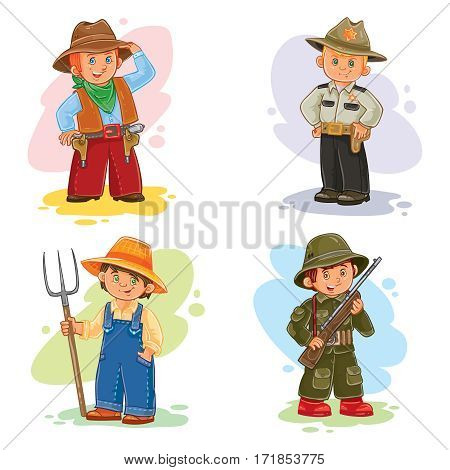 Set of icons of small children cowboy, sheriff, farmer, soldier