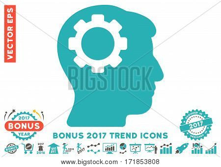 Grey And Cyan Brain Gear icon with bonus 2017 year trend images. Vector illustration style is flat iconic bicolor symbols white background.