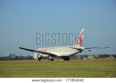 Amsterdam the Netherlands - June 9th 2016: A7-BFC Qatar Airways Cargo Boeing 777-FDZ takeoff from Polderbaan runway destination Doha Qatar