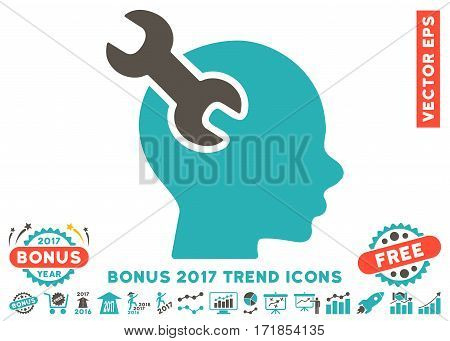 Grey And Cyan Brain Service Wrench pictograph with bonus 2017 year trend symbols. Vector illustration style is flat iconic bicolor symbols white background.