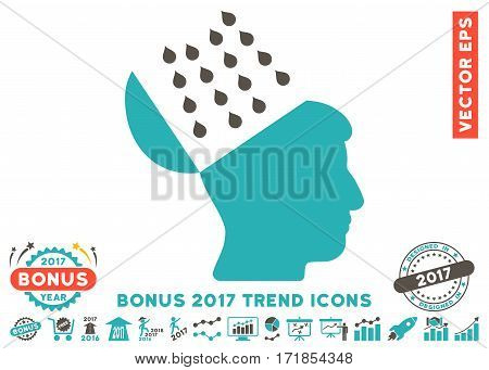 Grey And Cyan Brain Shower pictogram with bonus 2017 year trend design elements. Vector illustration style is flat iconic bicolor symbols white background.