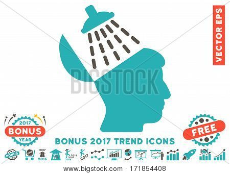 Grey And Cyan Brain Washing icon with bonus 2017 year trend images. Vector illustration style is flat iconic bicolor symbols white background.