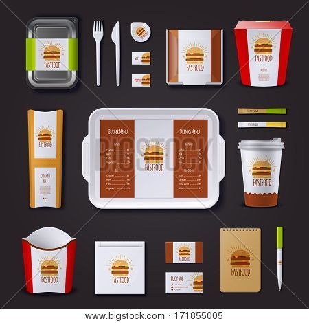 Fastfood corporate identity with set of packaging and tray visit cards notepad and pen isolated vector illustration