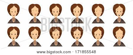 Set of avatars with female emotions including fun uncertainty gloom laugh concentration cartoon style isolated vector illustration