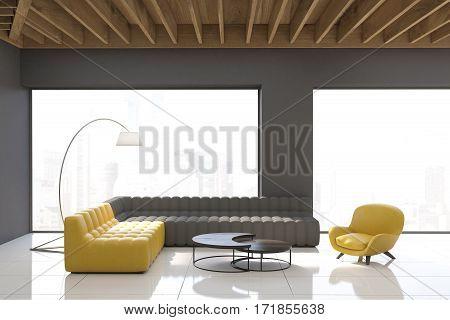 Gray Living Room With Panoramic Windows
