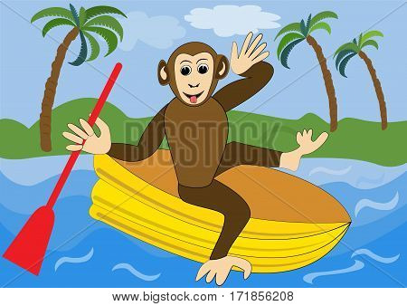 Funny monkey floats on yellow inflatable rubber dinghy with red oar. Illustration for children animal vector cartoon clipart
