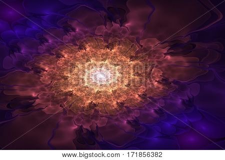 Abstract fractal spiral in shades of blue, violet, orange and white.
