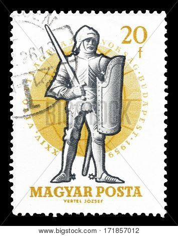 HUNGARY - CIRCA 1959 : Cancelled postage stamp printed by Hungary, that shows Ancient warrior.
