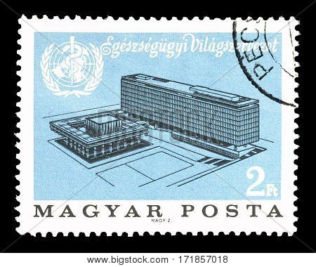 HUNGARY - CIRCA 1966 : Cancelled postage stamp printed by Hungary, that shows Building of World Health Organization.