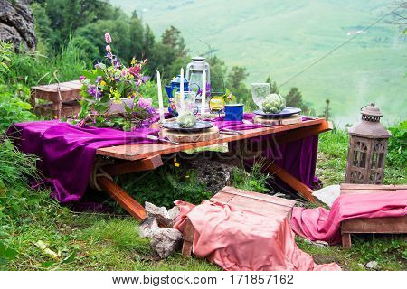 Wedding Table Setting Decorated In Rustic Style. Wedding Inspiration On Mountain.