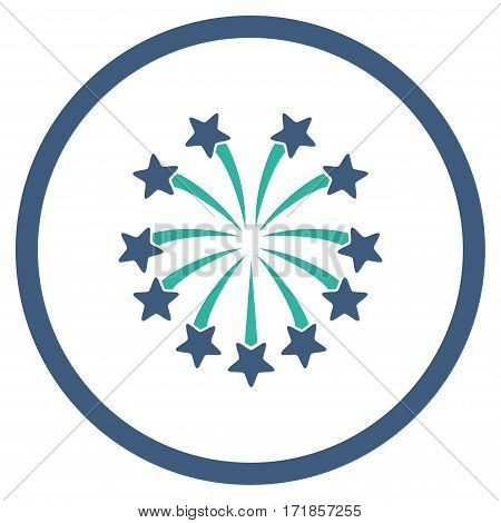 Spherical Fireworks rounded icon. Vector illustration style is flat iconic bicolor symbol inside circle cobalt and cyan colors white background.