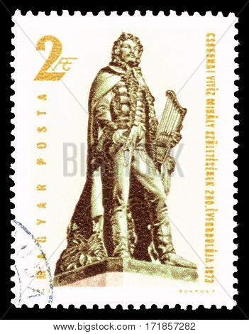 HUNGARY - CIRCA 1973 : Cancelled postage stamp printed by Hungary, that shows Mihaly Csokonal.