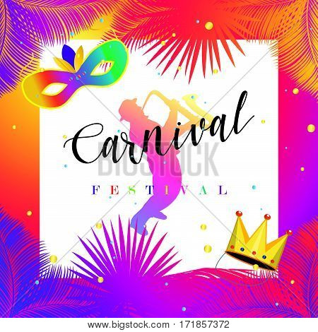 Mardi Gras Carnival, Music Festival, Masquerade poster, invitation design. Funfair, parade funny tickets, banners design with confetti, musicians, carnival mask, crown, palm leaves frame.