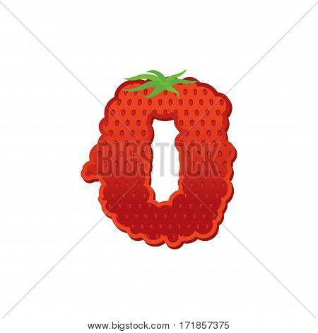 Number 0 Strawberry Font. Red Berry Lettering Zero Alphabet. Fruits Abc