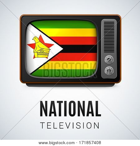 Vintage TV and Flag of Zimbabwe as Symbol National Television. Tele Receiver with Zimbabwean flag
