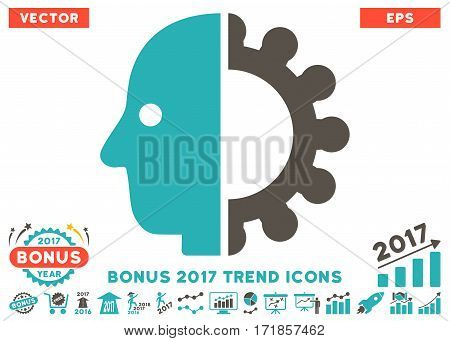 Grey And Cyan Cyborg Head pictograph with bonus 2017 year trend design elements. Vector illustration style is flat iconic bicolor symbols white background.