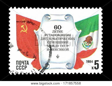 HUNGARY - CIRCA 1984 : Cancelled postage stamp printed by Hungary, that shows Russian and Hungarian flag.