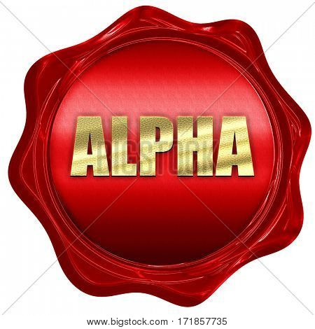alpha, 3D rendering, red wax stamp with text