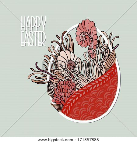 Decorative Card With Easter Egg Like Basket With Flowers In Retro Soft Desaturated Colors. Doodle St
