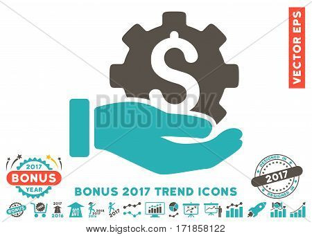 Grey And Cyan Development Service pictograph with bonus 2017 year trend pictograph collection. Vector illustration style is flat iconic bicolor symbols white background.
