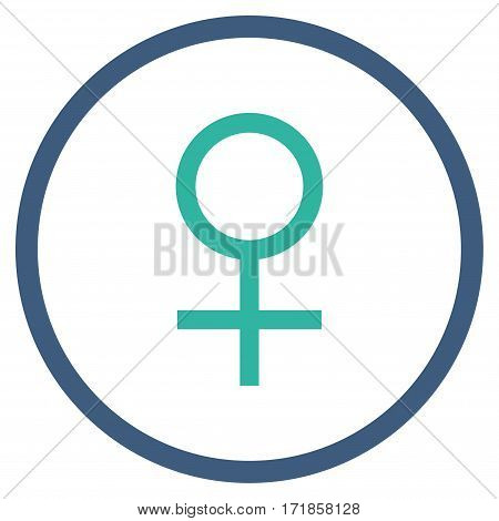 Venus Female Symbol rounded icon. Vector illustration style is flat iconic bicolor symbol inside circle cobalt and cyan colors white background.