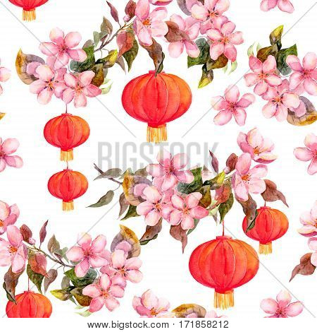 Traditional red chinese lantern in spring pink flowers - apple, plum, cherry, sakura. Seamless pattern. Watercolor art