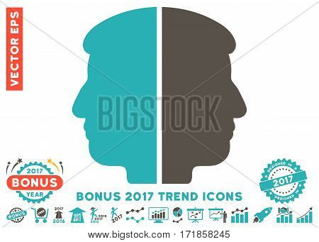 Grey And Cyan Dual Face icon with bonus 2017 trend pictograms. Vector illustration style is flat iconic bicolor symbols white background.