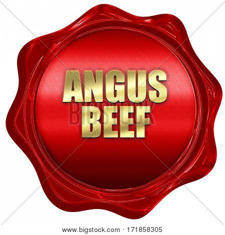 angus beef, 3D rendering, red wax stamp with text