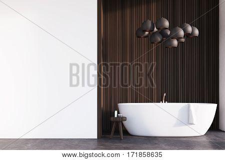 Bathroom With Lamps, Dark Wood, Wall