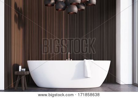 Bathroom With Lamps, Dark Wood, Front