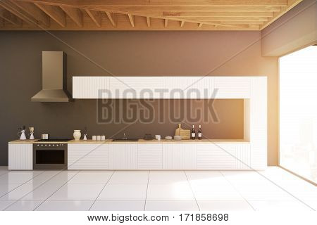 Gray Kitchen With Panoramic Window, Toned