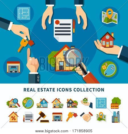 Real estate and property search flat icons collection isolated on white and blue backgrounds vector illustration