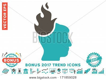 Grey And Cyan Fired Head pictograph with bonus 2017 year trend images. Vector illustration style is flat iconic bicolor symbols white background.