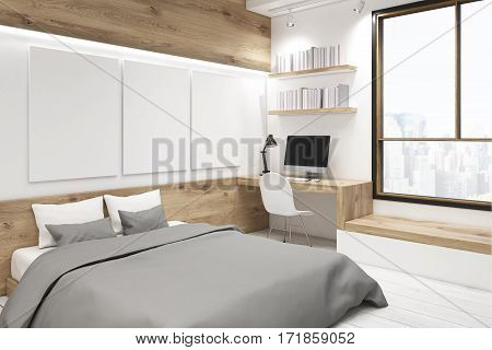 Corner of bedroom interior with a picture gallery. There is a wooden table two bookshelves and three large vertical posters hanging on the wall. 3d rendering mock up