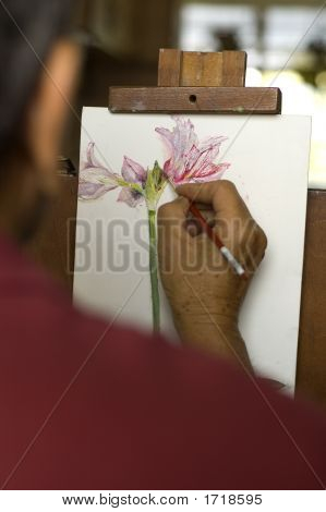 Flower Oil Painting In Progress