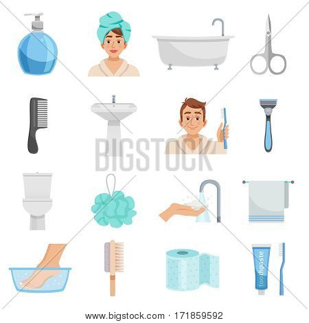 Hygiene isolated elements set with sixteen icons of towels bast wisp combs scissors and various toiletry vector illustration