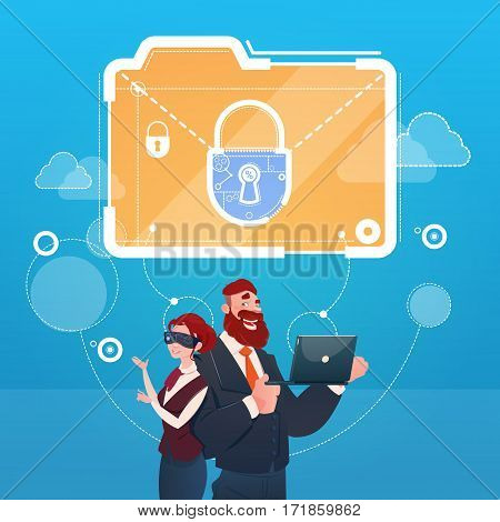 Business Woman And Man Wear Digital Virtual Reality Glasses Document Lock Data Protection Concept Flat Vector Illustration