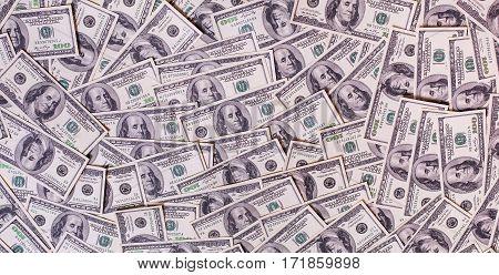 Background of hundred dollar bills, american money