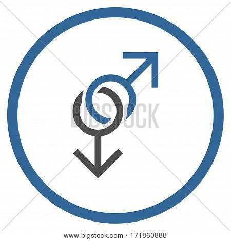 Gay Love Symbol rounded icon. Vector illustration style is flat iconic bicolor symbol inside circle cobalt and gray colors white background.