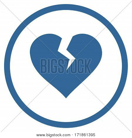 Heart Break rounded icon. Vector illustration style is flat iconic bicolor symbol inside circle cobalt and gray colors white background.