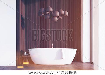 Bathroom With Lamps, Dark Wood, Toned