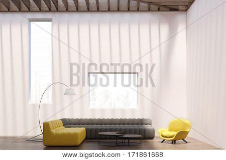 White Living Room Interior, Windows