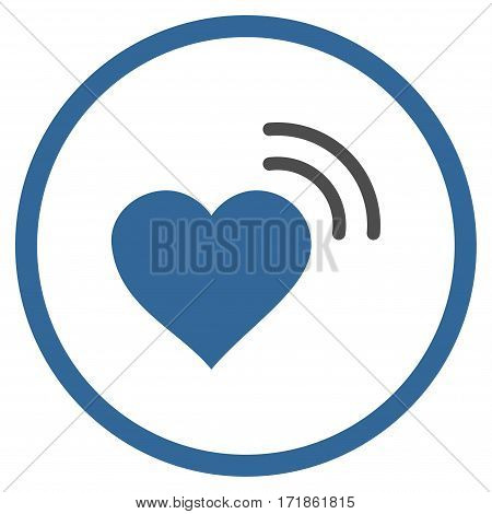 Heart Radio Signal rounded icon. Vector illustration style is flat iconic bicolor symbol inside circle cobalt and gray colors white background.