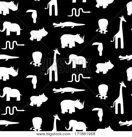 Black and white animal silhouettes seamless pattern vector. Monochrome giraffe, lion, hippo, crocodile, toucan and snake on white background.
