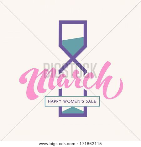 8 march happy international womens day lettering creative holiday label for sale promotion with hourglass silhouette. Girly limited sale vector icon/badge