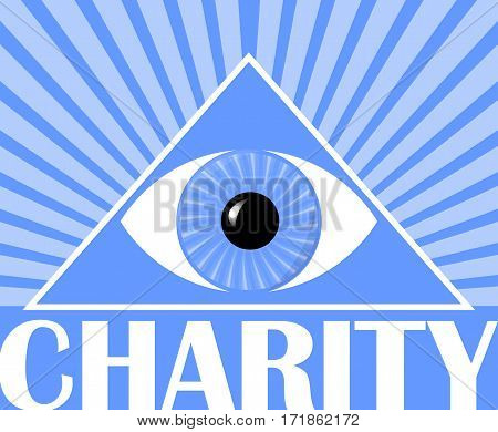Charity flyer with a symbol of God's eye in triangle. Blue background with white rays. Poster for christian charity events.