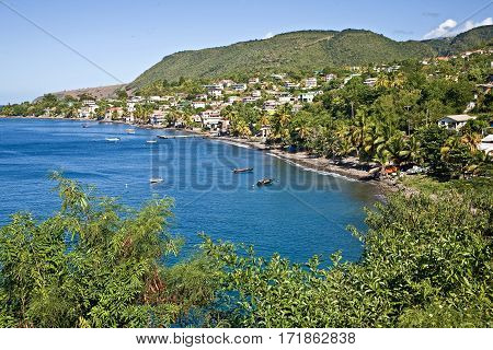 Fishing village on Dominica island in the Caribbean.