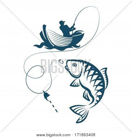 Fisherman on the boat fishing silhouette vector