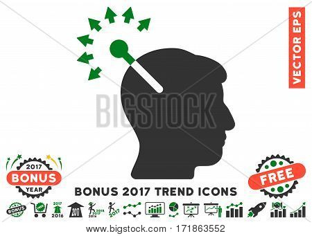 Green And Gray Optical Neural Interface pictograph with bonus 2017 year trend elements. Vector illustration style is flat iconic bicolor symbols white background.