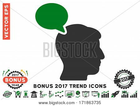 Green And Gray Person Opinion pictogram with bonus 2017 trend icon set. Vector illustration style is flat iconic bicolor symbols white background.